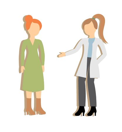 vector illustration of a doctor talking to a patient, therapist and patient, clinic, doctor and patient