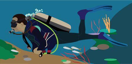 Scuba diver vector illustration, seascape, ocean, diver