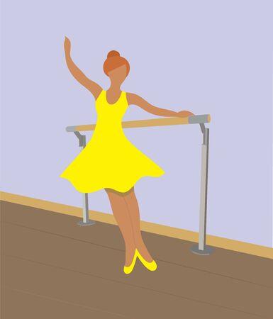 illustration of a ballerina, ballerina at the ballet machine, dancer, dance, ballet class Illustration