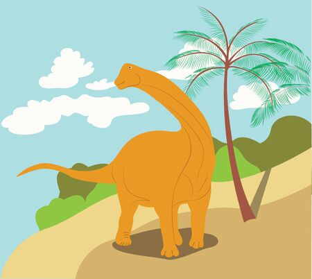 color illustration with diplodocus dinosaur on the beach background