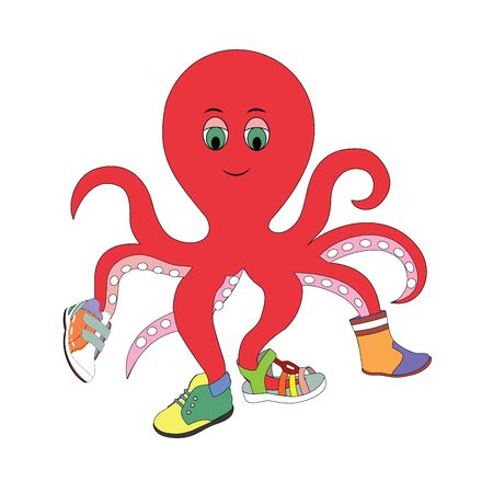 illustration of an octopus trying on shoes, shoe sale, octopus, advertising, sale, shoe store