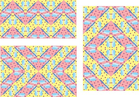 color vector dragonfly pattern in three variants