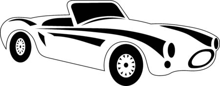 black and white vector illustration of a retro car
