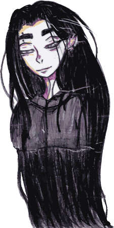 Pensive girl cartoon character. Anime teenager with long dark hair. Freehand illustration anime character