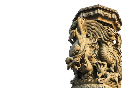 Dragon column with isolated background ,Thailand photo