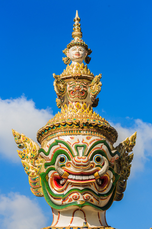 The head of giant statue in Wat Phra Kaew ,Thailand photo