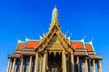 thai believe: Wat Phra Kaew and blue sky in Bangkok ,Thailand