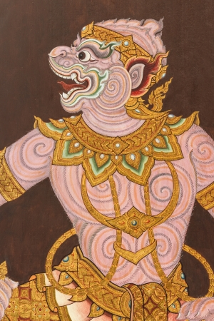 ramayana: The image of Hanuman  Ramayana literature  on wall at Wat Phra Kaew ,Bangkok