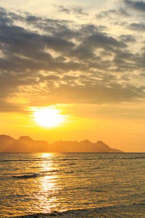 sunrise above Andaman sea and reflect on water at Trang ,Thailand Stock Photo - 24388544