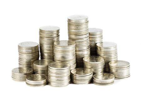 group of thai coins at on white background isolated