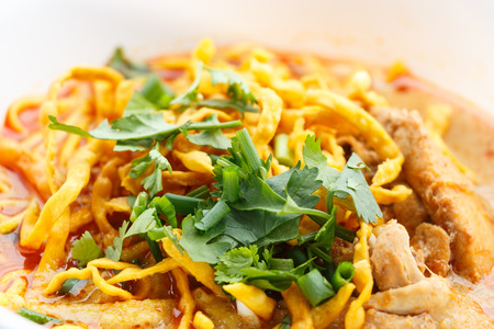 thai noodle soup: Khao Soi, Northern Style Curried Noodle Soup with Chicken Stock Photo