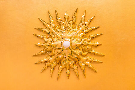 electric bulb was decorated to sun shape on ceiling at Wat Rong Khun ,Chiangrai ,Thailand photo