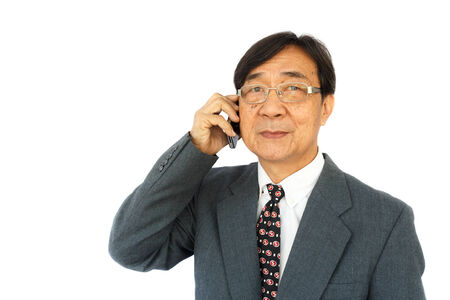 old aged businessman is calling  and blank area at left side photo