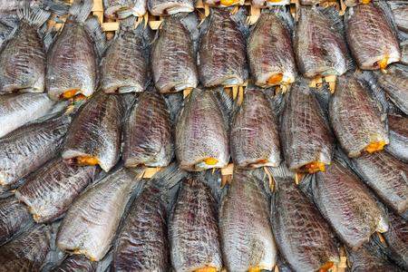 pectoralis: Fishes  Trichogaster pectoralis  arrange on rattan in market Stock Photo