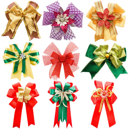 Set of colorful bows on white background  isolated  photo