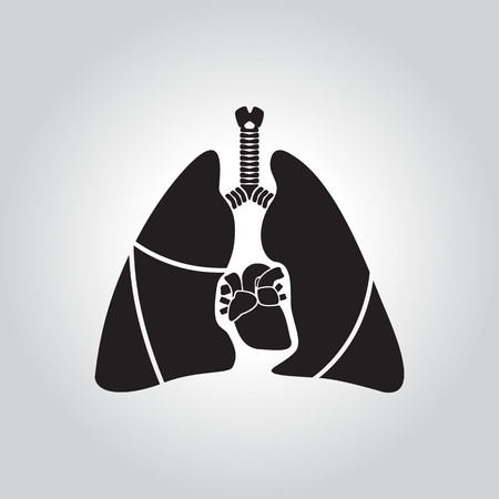 Heart and lung icon Vector