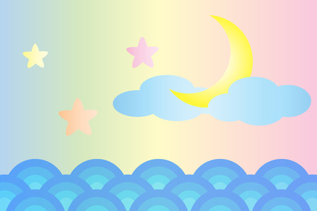Moon and star over the sea (Pastel color style) Vector