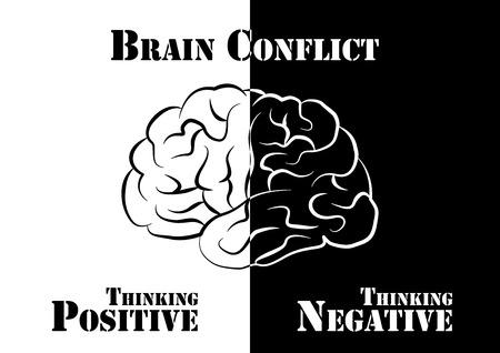 negative thinking: Conflit du cerveau. Humaine ont � la fois la pens�e positive et n�gative