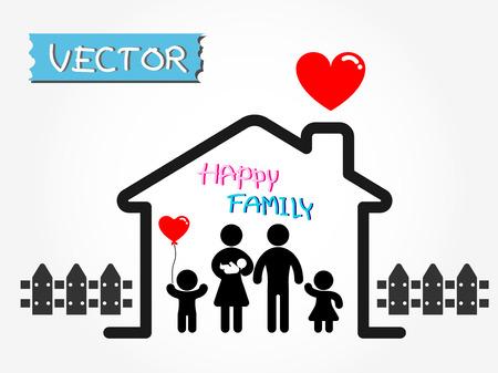 幸せな家族 (父、母、幼児、息子、娘の幸せな家庭で)