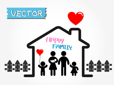 Gelukkig gezin (vader, moeder, baby, zoon, dochter in gelukkige thuis) Stock Illustratie