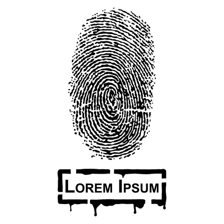 Realistic Fingerprint and frame for fill text Çizim