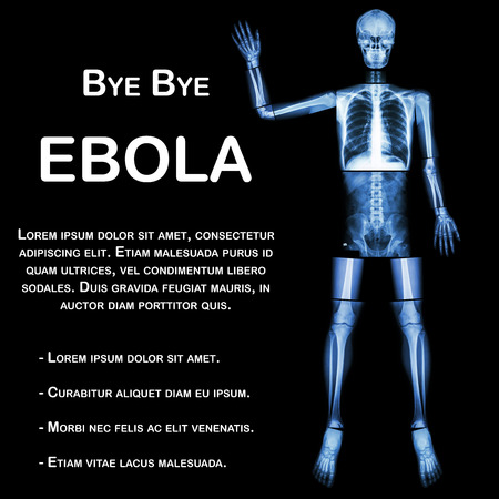 front raise: Good Bye EBOLA. (Human bone wave the hand) (Whole body : head neck spine shoulder arm elbow forearm wrist hand finger thorax heart lung back abdomen pelvis hip thigh leg knee foot ankle heel) Stock Photo