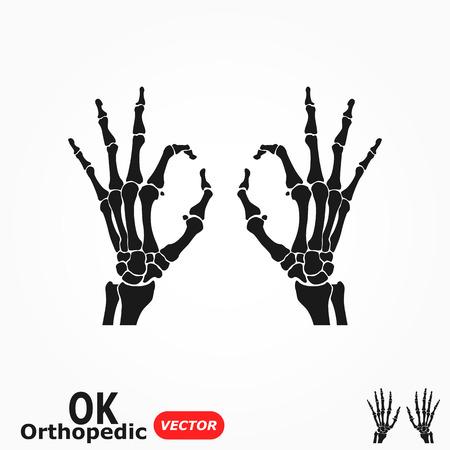 skeleton x ray: OK orthopedic  ( X-ray human hand with OK sign ) Illustration