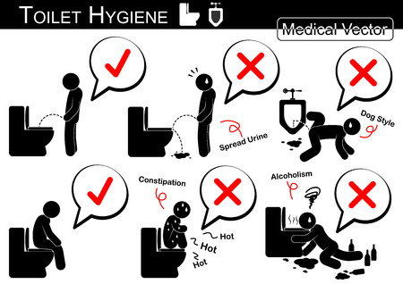 Toilet Hygiene ( Stick man vector )