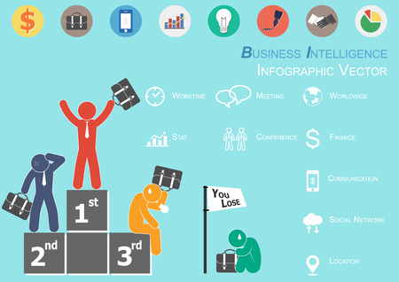 Infographic of Business Intelligence ( The winner is glad and Losers are sad  ) Vector