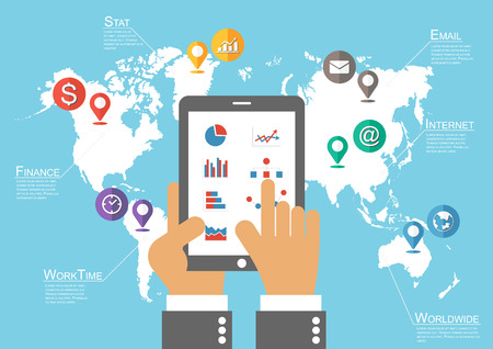 Businessman hold tablet and world map with location pointer ( Infographic vector ) Vector