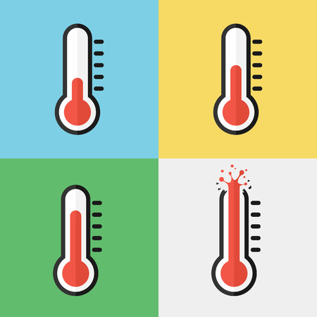 Broken thermometer ( Overheat ) ( Flat design )