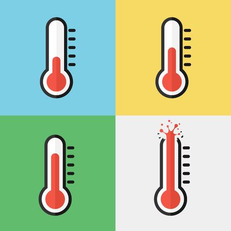 Gebroken thermometer (oververhitting) (Flat design) Vector Illustratie