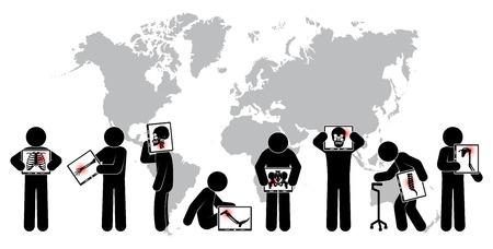 scoliosis: Stick man hold monitor screen :show skeleton,world map ( Worldwide Healthcare concept )( Pulmonary Tuberculosis , Arthritis , Cervical spondylosis , Lumbar spondylolisthesis , Scoliosis , Stroke )