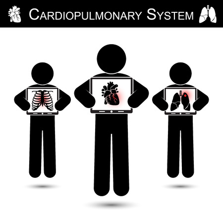 infarction: Cardiopulmonary System .  Human hold monitor screen and show imaging of Skeleton ( chest injury ) , Heart ( Myocardial Infarction ) , Lung ( Pulmonary Tuberculosis )    ( CPR concept )