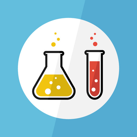 beaker: Chemical substance in flask and test tube ( Flat design ) ( Scientific concept )