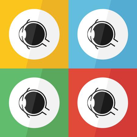 lateral eyes: Eye icon ( Flat design ) for eye care , disease concept ( Glaucoma Cataract Pterygium Pinguecula Conjunctivitis Keratitis etc) Eye anatomy ( conjunctiva cornea iris lens pupil vitreous humor nerve )