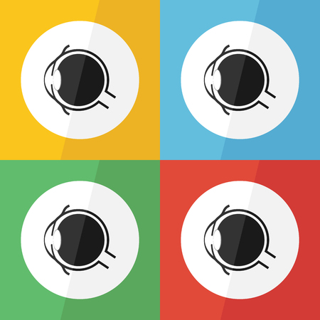 Eye icon ( Flat design ) for eye care , disease concept ( Glaucoma Cataract Pterygium Pinguecula Conjunctivitis Keratitis etc) Eye anatomy ( conjunctiva cornea iris lens pupil vitreous humor nerve )