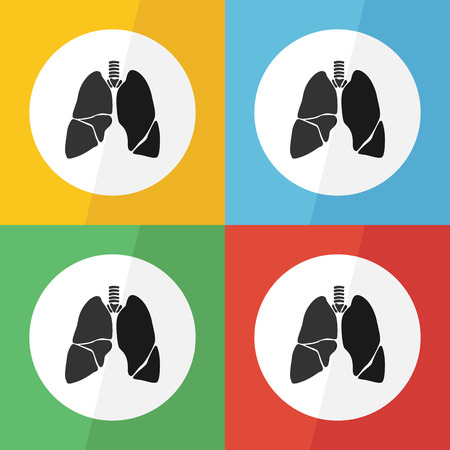 Lung icon ( flat design ) on different color background ( front view ) Use for lung disease ( Tuberculosis , Pneumonia , Lung cancer , Bronchitis , MERS virus , etc ) Vector