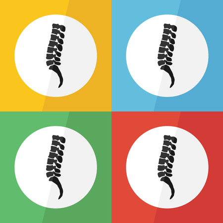 spondylosis: Spine icon ( flat design ) on different color background ( lateral view ) Use for spine disease ( spondylosis , spondylolisthesis , scoliosis , spondylolysis , disc herniation , fracture , etc )