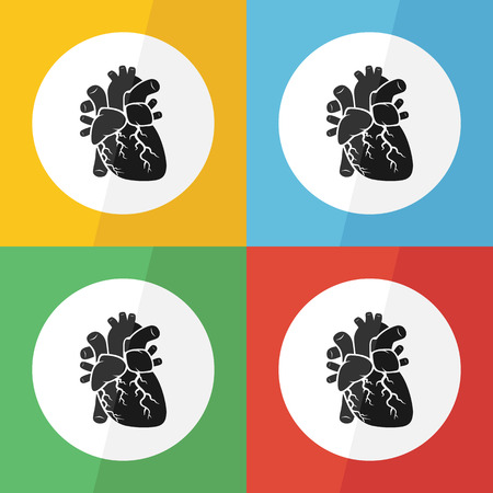 myocardial infarction: Heart icon ( flat design ) on different color background ( front view ) Use for heart disease ( Ischemic heart disease , Myocardial infarction , Coronary artery disease , Valvular heart disease ,etc )
