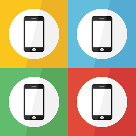 touch screen smart phone icon ( flat design ) on different color background Vector