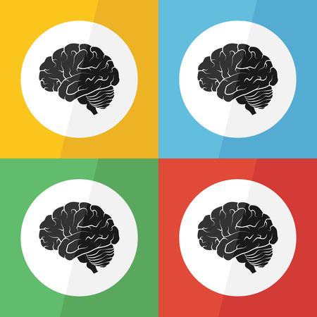 neurosurgery: Brain icon ( flat design ) on different color background ( lateral view ) Use for Brain disease ( ischemic stroke , hemorrhagic stroke , brain tumor , etc ) Illustration