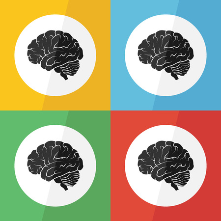 Brain icon ( flat design ) on different color background ( lateral view ) Use for Brain disease ( ischemic stroke , hemorrhagic stroke , brain tumor , etc ) Illustration