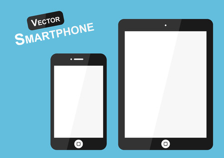 high tech: Smart phone vector ( Flat design ) on blue background ( high tech object )