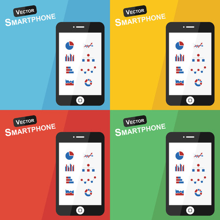 stat: Smartphone with stat icon on different background ( Flat design ) ( Statistic icon : pie chart , bar diagram , line chart , pictogram , flow chart  , statistical chart , dot chart ) Illustration