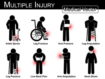 fractura: Conjunto lesiones m�ltiples (Esguince de tobillo, fractura de pierna, fractura de brazo, pierna amputaci�n, fractura de pierna, dolor de espalda baja, Brazo amputaci�n, la tensi�n del cuello) (stick vector M�dico hombre, concepto de terapia f�sica)