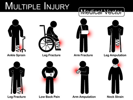 orthopedic: Multiple injury set ( Ankle sprain , Leg fracture , Arm fracture , Leg amputation , Leg fracture , Low back pain , Arm amputation , Neck strain )( Vector Medical stick man , physical therapy concept )