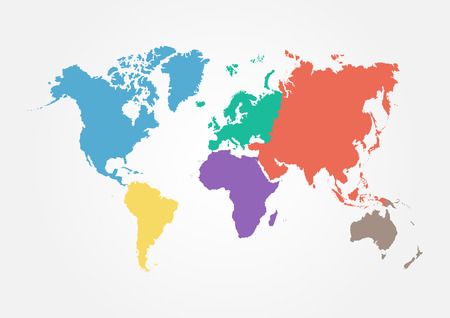 maps globes: Vector World map with continent in different color ( flat design )