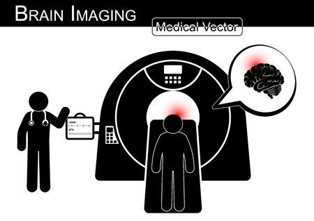 Brain Imaging .  Patient lie on CT scanner for diagnosis of brain disease ( Hemorrhagic or Ischemic stroke , Brain tumor , Brain abscess , etc ) ( Black & white  Flat design )( health care concept ) Illustration
