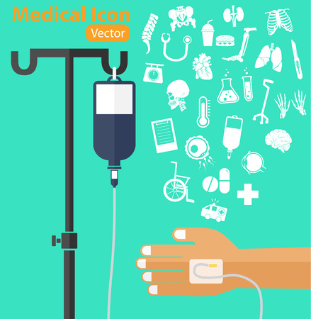 a solution tube: saline solution bag with pole, patient s hand, IV tube, medical icon ( ambulance, wheelchair, medicine, drug, chart, thermometer, cane, surgical knife, stethoscope, organ, lung, spine )